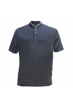 Microfibre Polo Mock Neck w Button